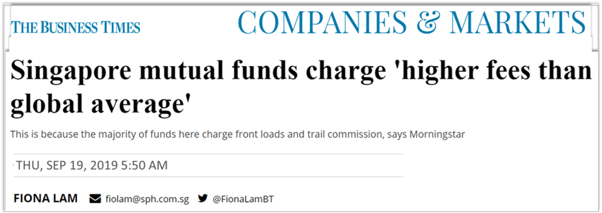 The Business Times on Mutual Funds Charge Higher Fees than Global Average