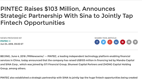 PIVOT's shareholder raises new capital in strategic partnership with Sina Corp to tap fintech opportunities using data and AI